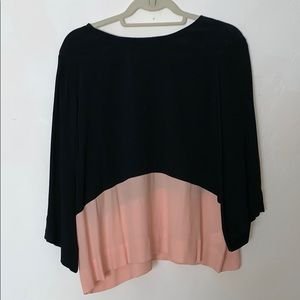 Sam & Lavi black and pink colorblock flowy top